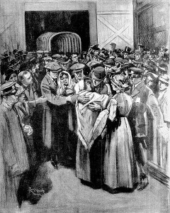 """Arrival of the ship of sorrow"", published in the Boston Globe May 4, 1912."