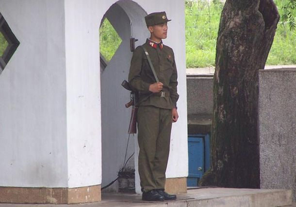 North Korean soldier standing guard